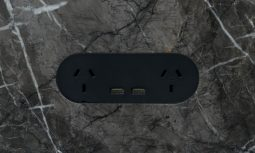Zetr 13 O Usb B. Double Outlet With Usb In Black With Adjustable Mounting Assembly Finished In Marble