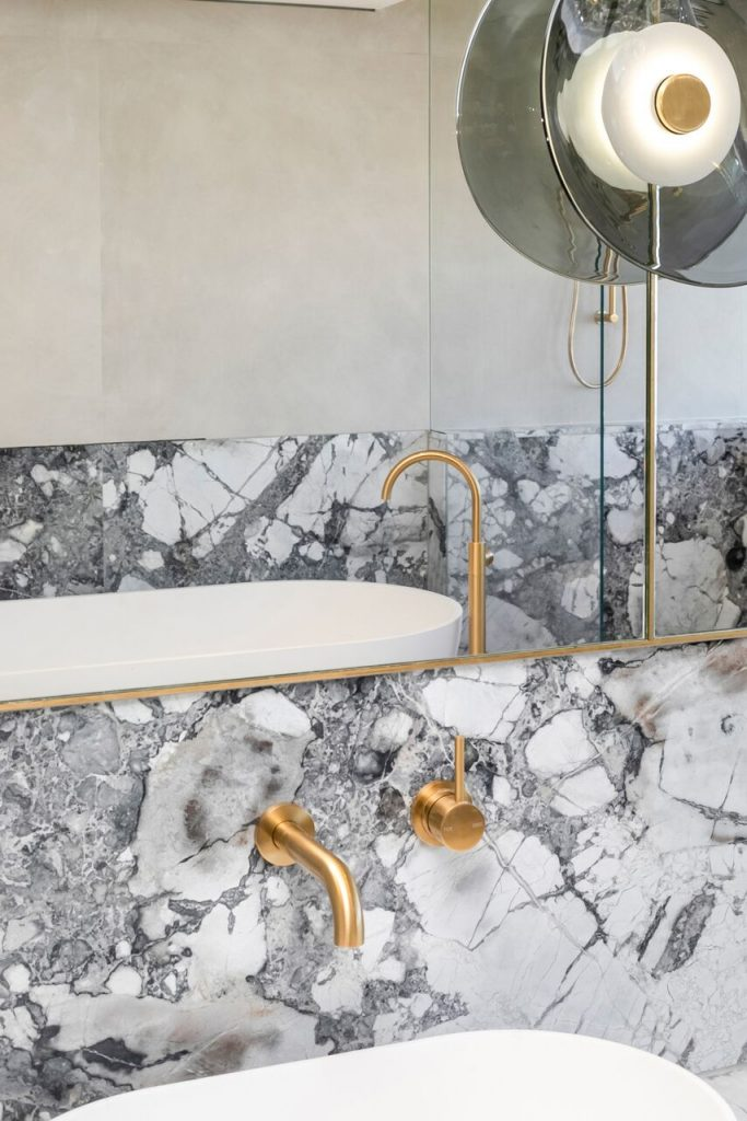 Whilst The Bathroom And Kitchen Spaces Feature Cote D'azure Marble And Brass Tapware.