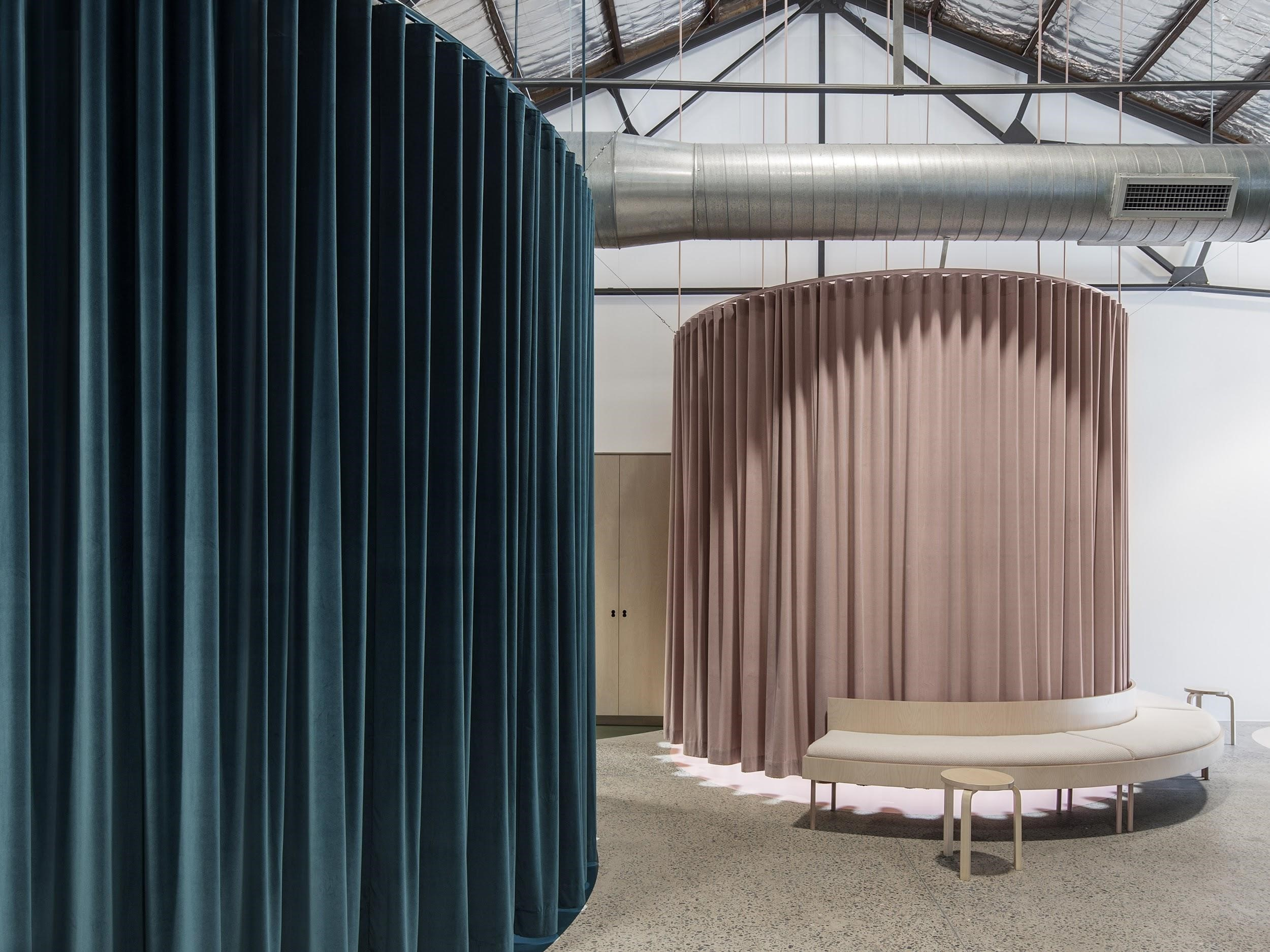 Where Velvet S Fold Curtains On Circular Tracks Alternately Conceal And Reveal To Create A Workspace Unlike Any Other.