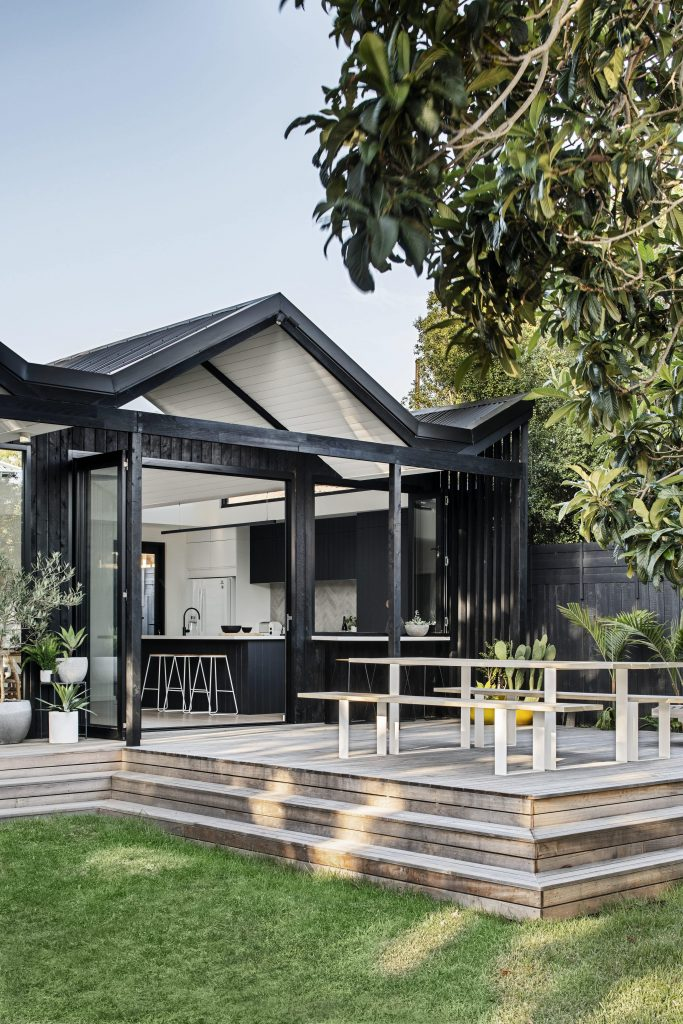 As A Nod To The Existing Weatherboard Features Of The Home, The Decision To Use A Ship Lapped Cypress Timber Was Del