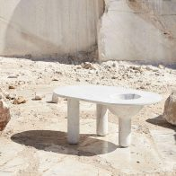 Comprising Three Legs, Minimal Oval Top And Hollowed Bowl Cavity,