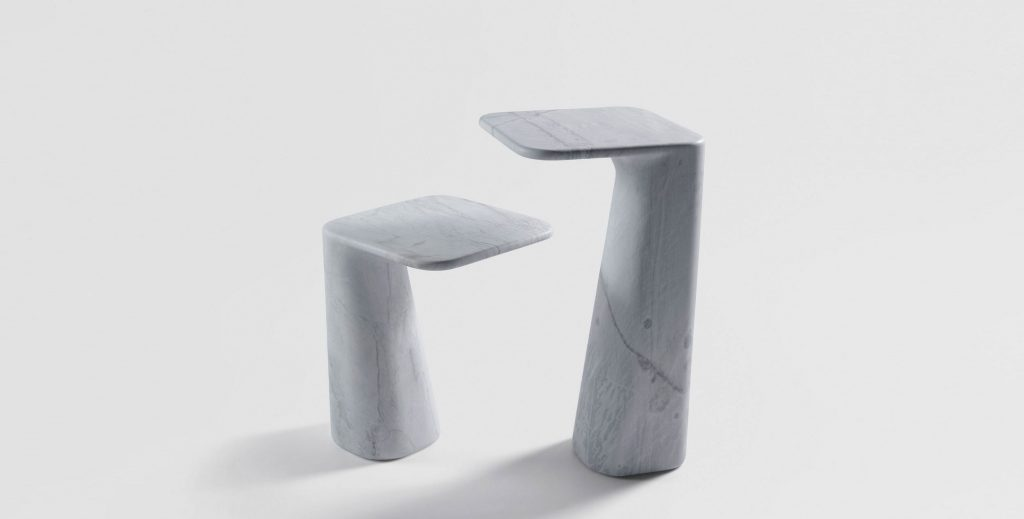 Solid Piece Of Elba Is Carved To Create A Cantilevered Resting Surface
