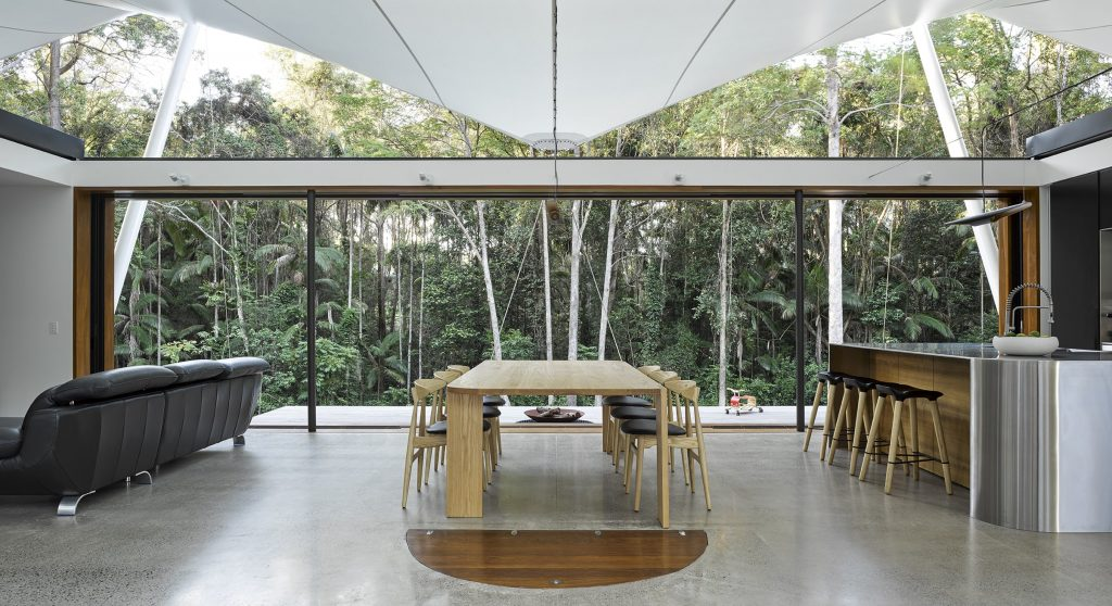 As The Doors Slide Open The Forest Wall Becomes An Architectural Element