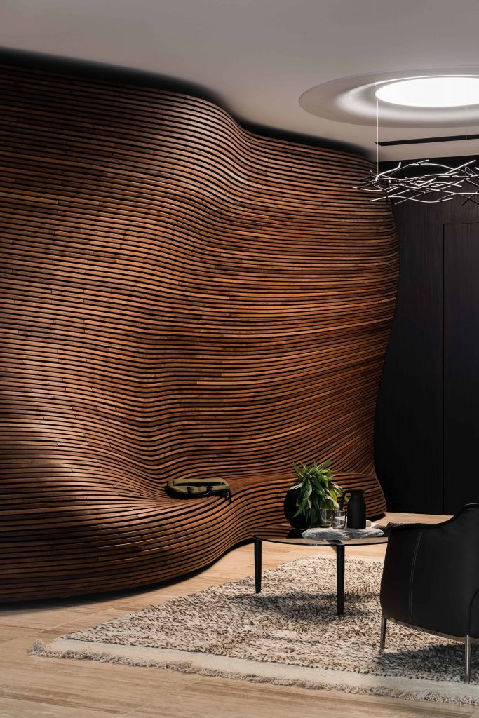 The Centrepiece Of The Woods Bagot Designed Kpmg Perth Office Is The Vast American Walnut Timber Recepti