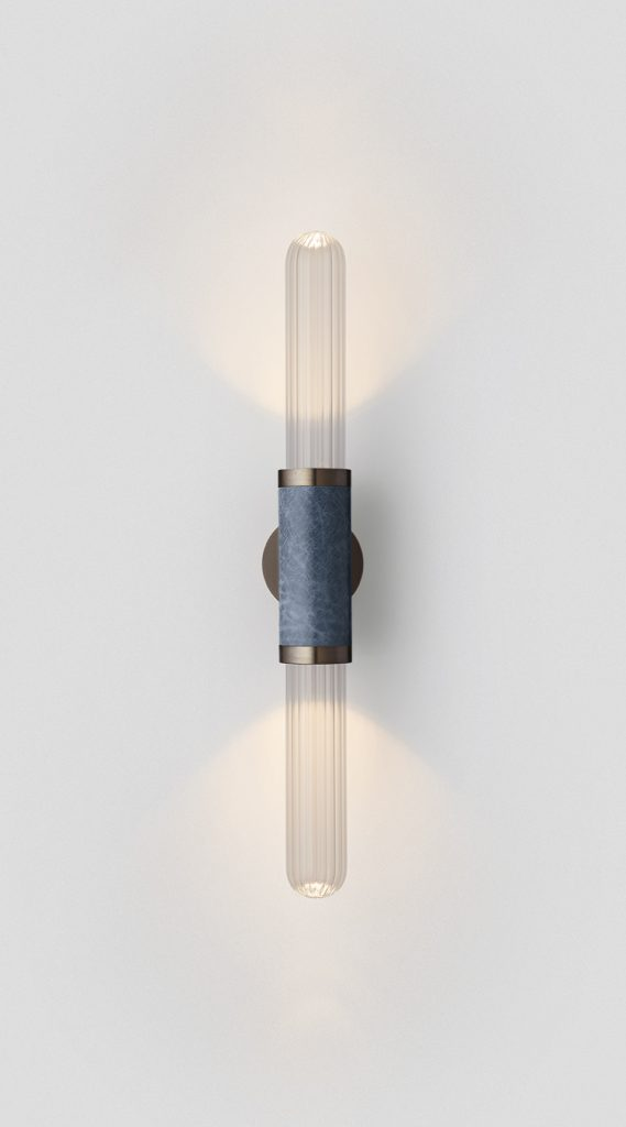 Scandal Short Wall Sconce By Articolo Lighting Product Directory The Local Project Short Clear Fluted Glass Blue Mid Bronze Fittings On