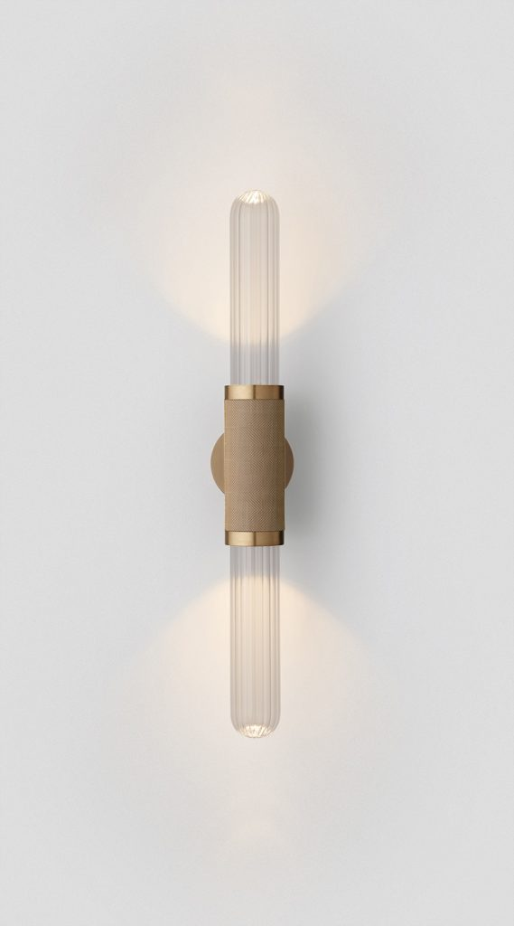 Scandal Short Wall Sconce By Articolo Lighting Product Directory The Local Project Short Clear Fluted Glass Brass Silver Mesh Brass Fittings On