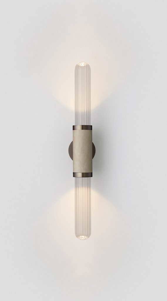 Scandal Short Wall Sconce By Articolo Lighting Product Directory The Local Project Short Clear Fluted Glass Latte Leather Mid Bronze Fittings On