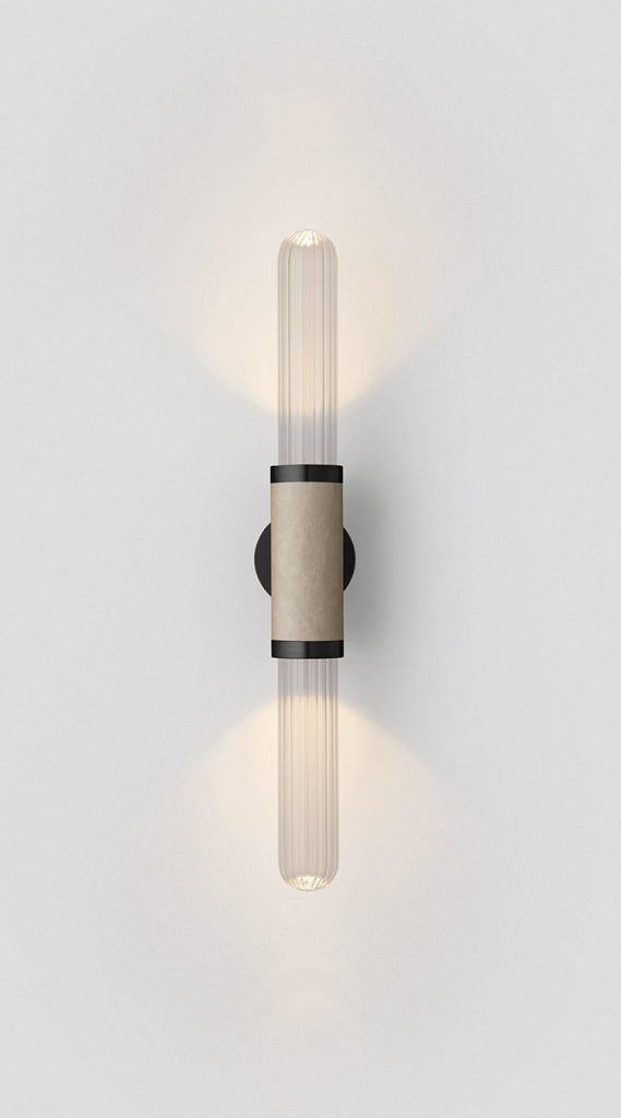 Scandal Short Wall Sconce By Articolo Lighting Product Directory The Local Project Short Clear Fluted Glass Latte Leather Opaque Black Fittings On