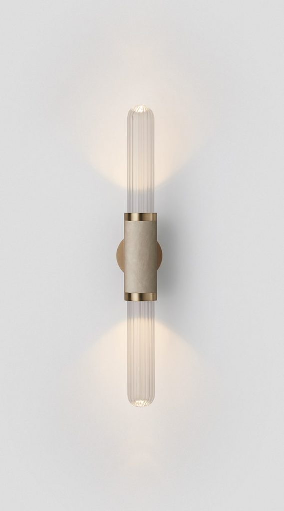 Scandal Short Wall Sconce By Articolo Lighting Product Directory The Local Project Short Clear Fluted Glass Leather Fittings On