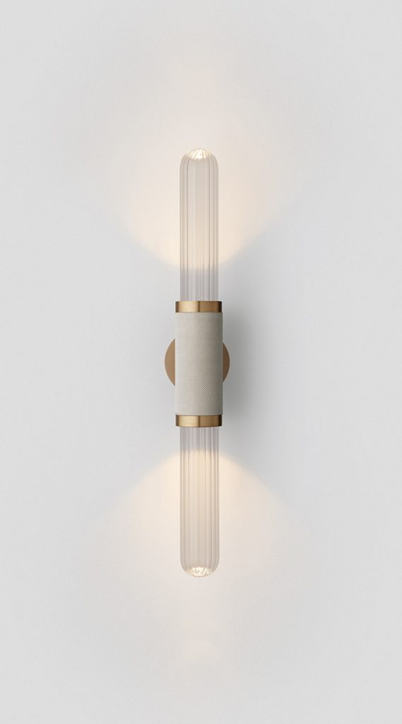 Scandal Short Wall Sconce By Articolo Lighting Product Directory The Local Project Short Clear Fluted Glass Silver Mesh Brass Fittings On