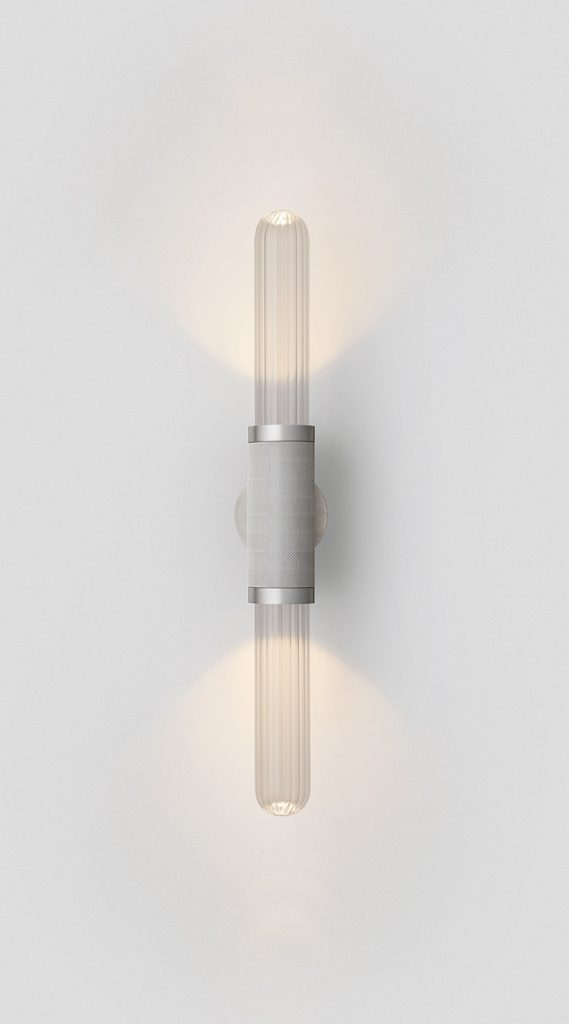 Scandal Short Wall Sconce By Articolo Lighting Product Directory The Local Project Short Clear Fluted Glass Silver Mesh Satin Nickel Fittings On