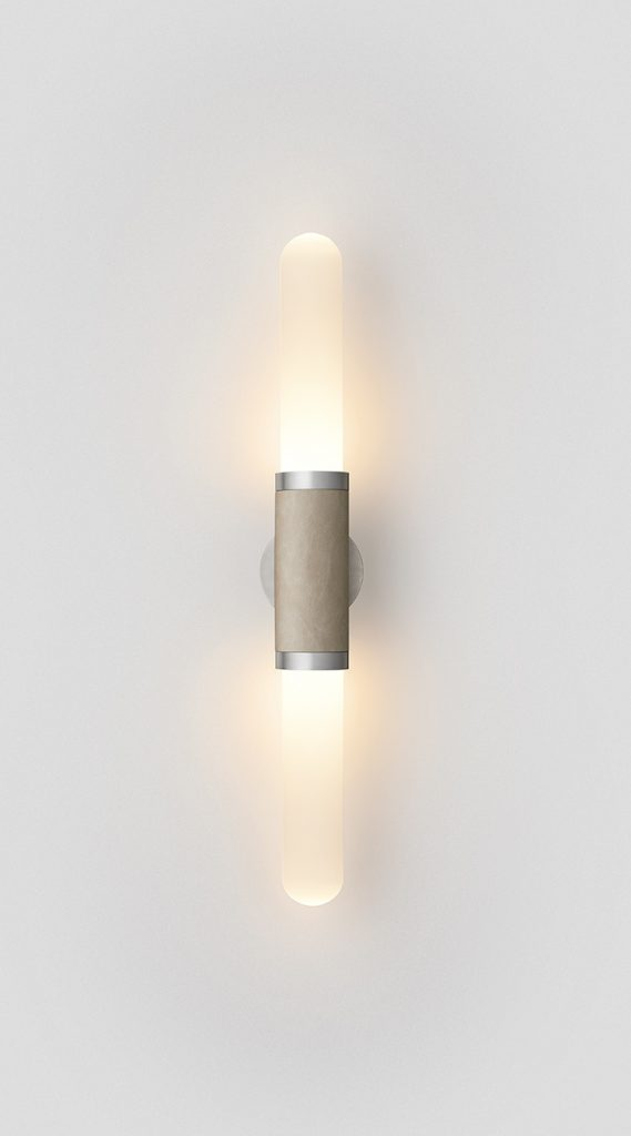 Scandal Short Wall Sconce By Articolo Lighting Product Directory The Local Project Short Snow Glass Latte Leather Satin Nickel Fittings On