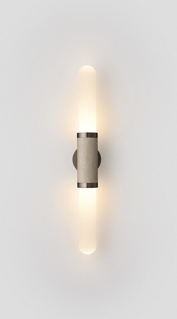 Scandal Short Wall Sconce By Articolo Lighting Product Directory The Local Project Short White Frost Glass Latte Leather Mid Bronze Fittings On