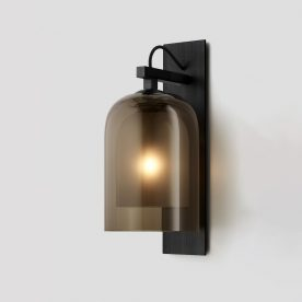 Lumi Wall Sconce By Articolo Lighting Product Directory The Local Project Smoke Frosted Smoke Black Electroplate Black Weave Black Flex On Square