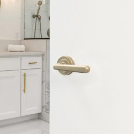 Bathroom In New Luxury Home: Master Ensuite Bathroom With Two Sinks And Shower. Features Elegant Tile Floor