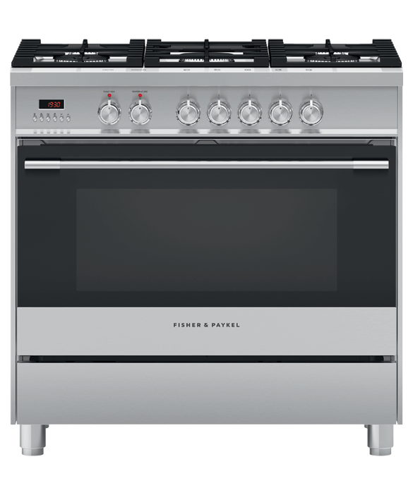 Freestanding Cooker, Dual Fuel, 90cm, 5 Burners By Fisher & Paykel