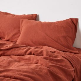 100% Linen Pillowslip Set (of Two) In Brick Image 02