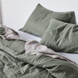 100% Linen Duvet Cover In Khaki Image 01