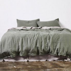 100% Linen Duvet Cover In Khaki Image 02