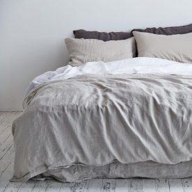 100% Linen Duvet Cover In Dove Grey Image 02