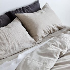 100% Linen Duvet Cover In Dove Grey Image 01