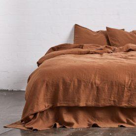 100% Linen Duvet Set In Tobacco Image 01