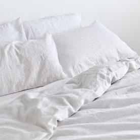 100% Linen Duvet Set In White Image 03