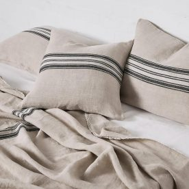 Heavy Linen Bed Cover With Stripes In Natural Image 01