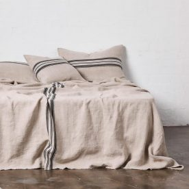 Heavy Linen Bed Cover With Stripes In Natural Image 02