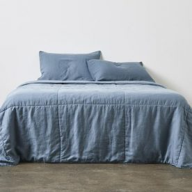 100% Linen Quilted Bed Cover In Lake Image 02