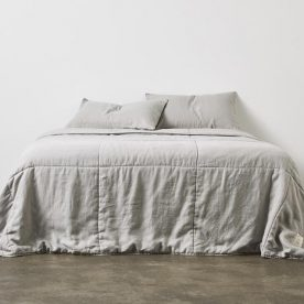 100% Linen Quilted Bed Cover In Cool Grey Image 02