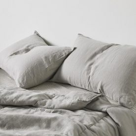 100% Linen Quilted Bed Cover In Cool Grey Image 03