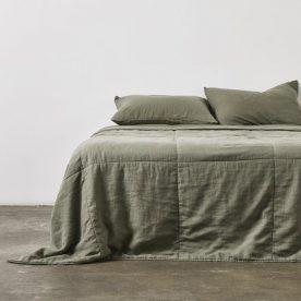 100% Linen Quilted Bed Cover In Khaki Image 02