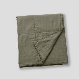 100% Linen Quilted Bed Cover In Khaki Image 05