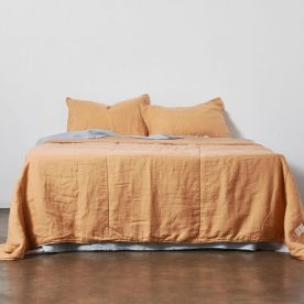 100% Linen Quilted Bed Cover In Tan By In Bed Image 02