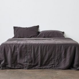 100% Linen Quilted Bed Cover In Kohl By In Bed Image 02