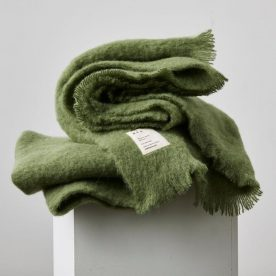 Alpaca Throw Rug In Olive By In Bed Image 01