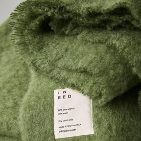 Alpaca Throw Rug In Olive By In Bed Image 03
