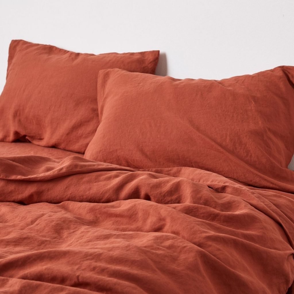 100% Linen Duvet Cover In Brick The Local Project Image 01