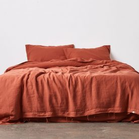 100% Linen Duvet Cover In Brick The Local Project Image 02